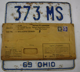 1969 Vintage Original Ohio License Plates 373-MS PAIR