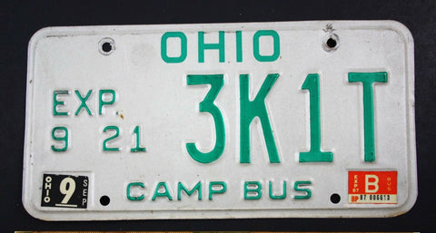 Vintage 1985 Original OHIO Camp Bus License Plate 3K1T