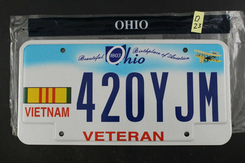 2010 OHIO Vietnam Veteran License Plate 420Y-JM D23