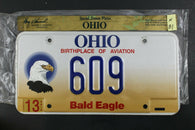 1998 OHIO License Plate 609 Embossed Bald Eagle N-81