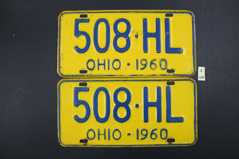 Vintage 1960 - OHIO - License Plate - 508-HL - Matching Pair (X-128