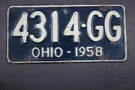 1958 Vintage Original Ohio License Plate 4314-GG