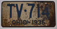 1936 Vintage Original OHIO License Plate TV-714
