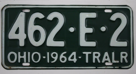 1964 Vintage Original Ohio License Plate 462 E 2