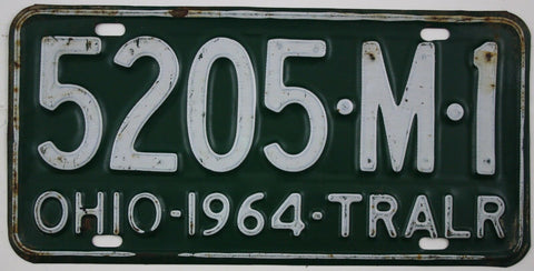 1964   Vintage Original OHIO License Plate 5205-M-1  TRAILER