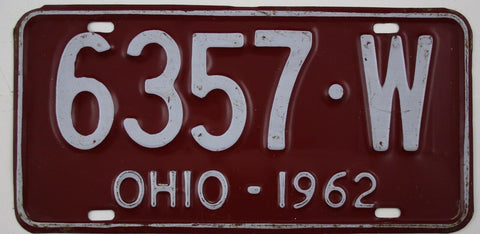 1962  Vintage Original OHIO License Plate 6357-W