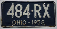 1958 Vintage Original OHIO License Plate Tag 484-RX