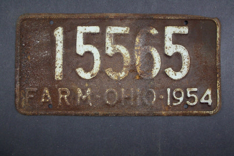 1954 Vintage Original Ohio License Plate 15565 FARM