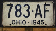 1945 Vintage Original OHIO License Plate Tag  783-AF
