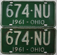 1961 Vintage Original OHIO License Plate 674-NU PAIR
