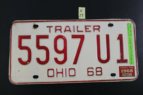 Vintage 1968 OHIO License Plate 5597-U1 TRAILER Montgomery Co. Tax Sticker (H29