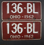 1962 Vintage Original Ohio License Plate 136-BL PAIR