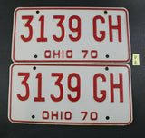 Vintage 1970 OHIO License Plate Pair 3139-GH   (Y2)