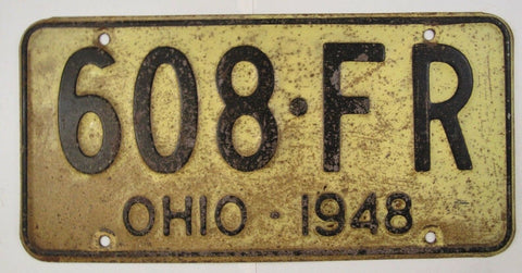 1948 Vintage Original OHIO License Plate 608-FR