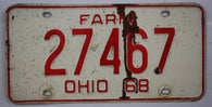 1968 Vintage Original OHIO License Plate Tag 27467 - FARM