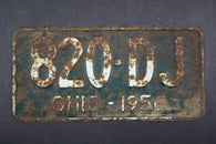 1956 Vintage Original Ohio License Plate 820-DJ