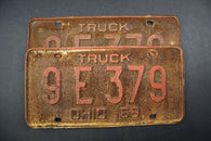 1968 Vintage Original Ohio License Plate 9-E-379 TRUCK PAIR