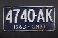 1963 Vintage Original Ohio License Plate 4740-AK