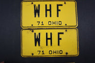 1971 Vintage Original Ohio License Plate W-H-F PAIR VANITY