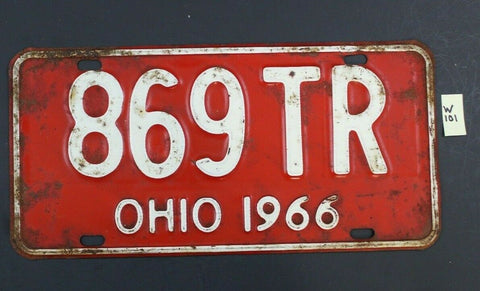 Vintage 1966 OHIO License Plate - 869-TR (W101