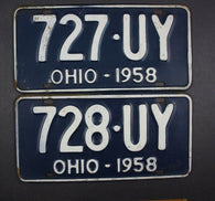 1958 Vintage Original Ohio License Plate 727-UY 728-UY PAIR