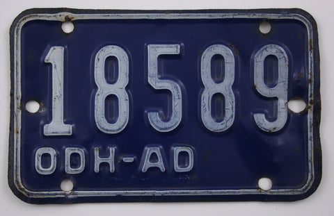Vintage Original OHIO License Plate 18589 ODH-AD