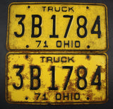 1971 Vintage Original Ohio License Plate 3-B-1784 TRUCK PAIR