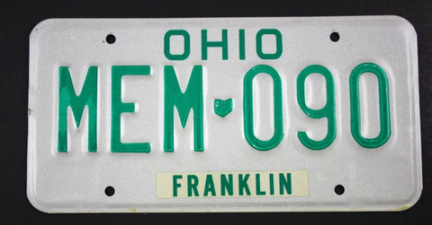 Vintage 1985 Original Base OHIO License Plate MEM-090, Memorial Golf Tournament