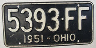 1951 Vintage Original OHIO License Plate 5393-FF