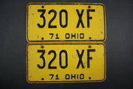 1971 Vintage Original Ohio License Plate 320-XF PAIR