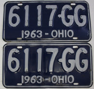 1963 Vintage Original  Ohio License Plate Tag  6117-GG  PAIR