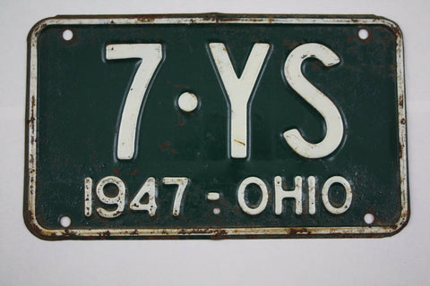 1947 Vintage Original Ohio License Plate Tag 7-YS
