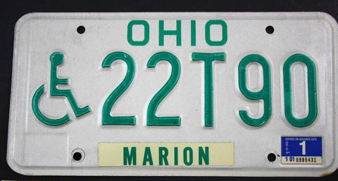 Vintage 1985 Original Base OHIO Handicapped License Plate 22T90