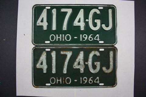 1964 Vintage Original Ohio License Plate 4174-GJ PAIR