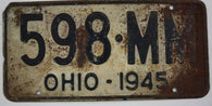 1945 Vintage Original OHIO License Plate Tag 598-MM