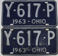 1963 Vintage Original  Ohio License Plate Tag  Y-617-P PAIR