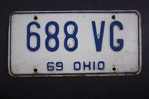 1969 Vintage Original Ohio License Plate 688-VG