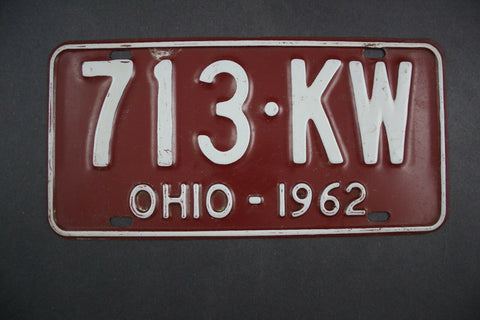 1962 Original Vintage Ohio License Plate 713-KW