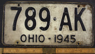 1945 Vintage Original OHIO License Plate Tag  789-AK