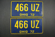 1972 Vintage Original Ohio License Plate 466-UZ PAIR