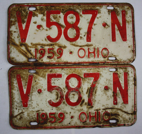 1959 Vintage Original Ohio License Plate V-587-N PAIR
