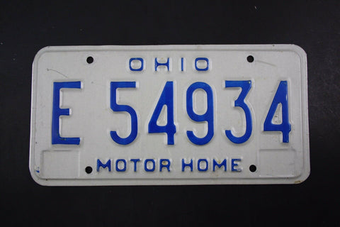 1980 Vintage Original OHIO License Plate E-54934 MOTOR HOME