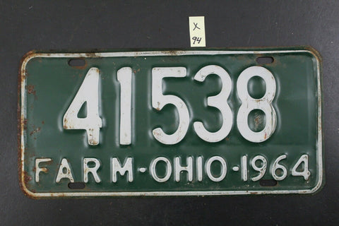 Vintage 1964 Ohio - FARM - License Plate - 41538 (X-94