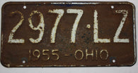 1955 Vintage Original OHIO License Plate Tag 2977-LZ