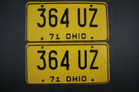 1971 Vintage Original Ohio License Plate 364-UZ PAIR