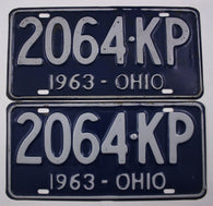1963 Vintage Original OHIO License Plate PAIR 2064-KP