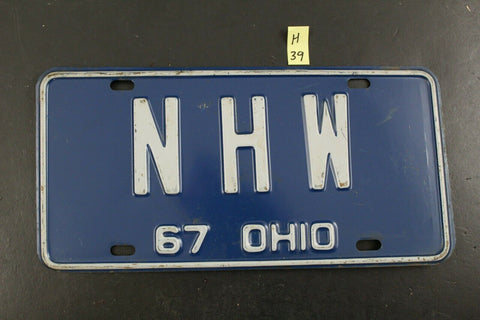 Vintage 1967 OHIO License Plate N-H-W NHW (H39