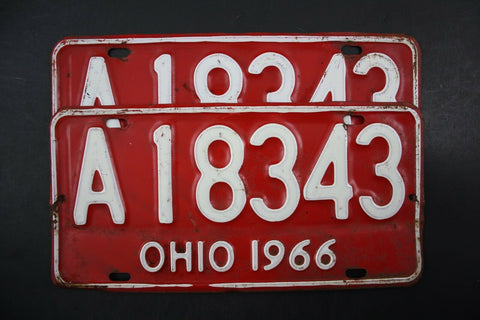 1966 Original Vintage Ohio License Plate PAIR A-18343