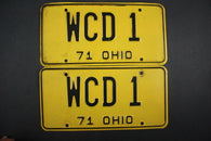 1971 Vintage Original Ohio License Plate WCD-1 VANITY PAIR