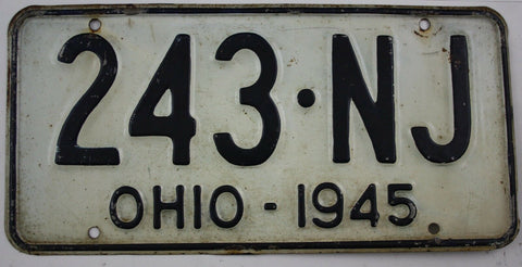1945 Vintage Original Ohio License Plates 243-NJ